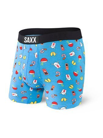 Bokserki męskie SAXX Ultra Boxer Brief Fly Blue Soy Happy M