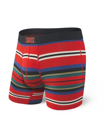 Bokserki męskie SAXX VIBE Boxer Brief Red Tartan Stripe