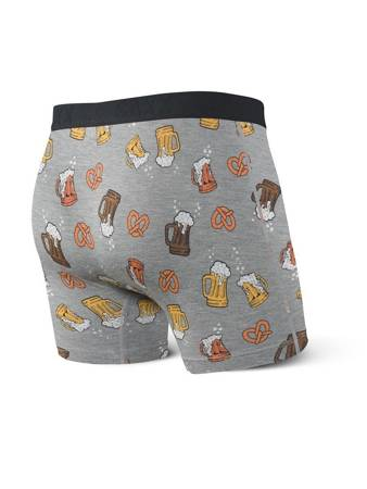 Bokserki męskie SAXX Vibe Boxer Brief Grey Beer Cheers